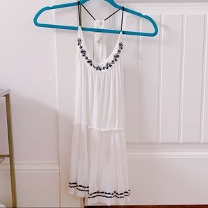 white tank top with black embroidery